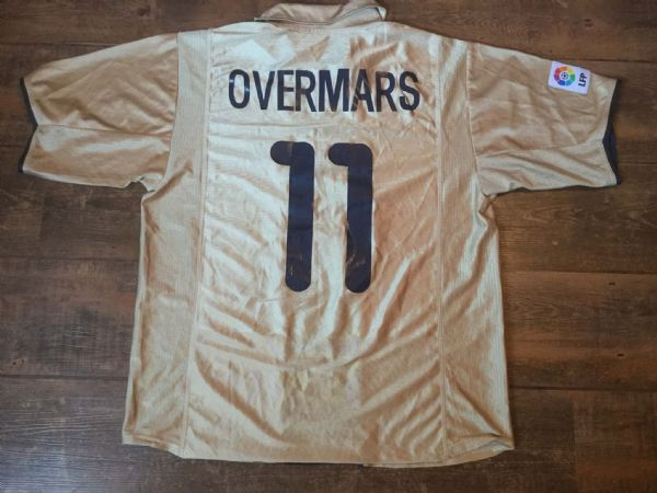 2001 2002 Barcelona Overmars Away Football Shirt Adults Large